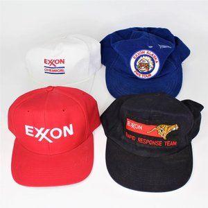 Vintage Lot of 4 EXXON SnapBack Hat Cap Trucker K